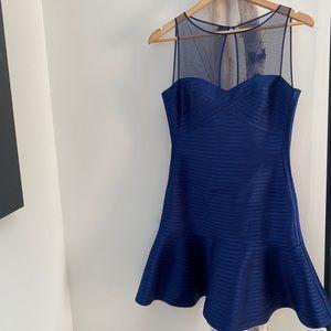 BCBG Deep Blue Portia Mesh Bodycon Dress